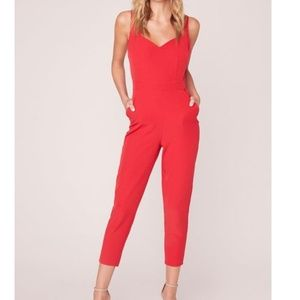 Red Oh Suit Jumpsuit With Sweetheart Neckline